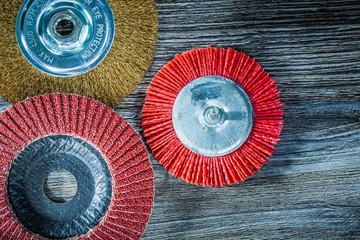 Polishing disc abrasive wire nylon brush on vintage wooden board