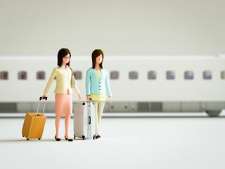 鉄道旅行する女性たち