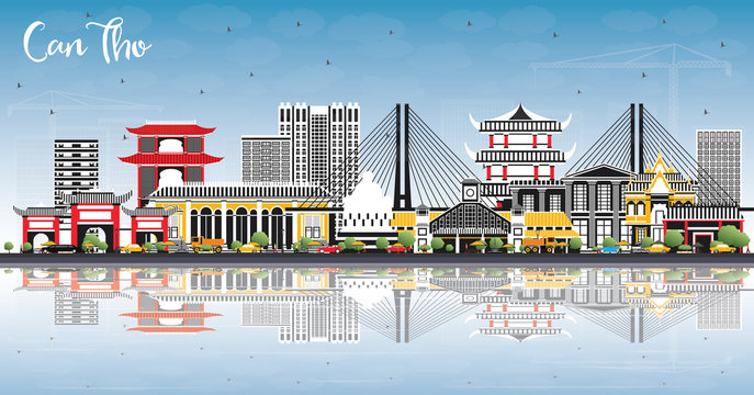 Can Tho Vietnam City Skyline with Gray Buildings, Blue Sky and Reflections.