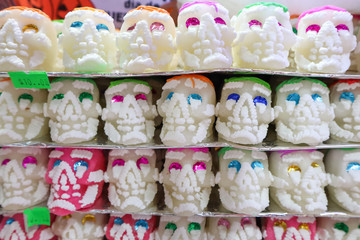 Rows of Sugar Skull for Day of the Dead at Market in Mexico City