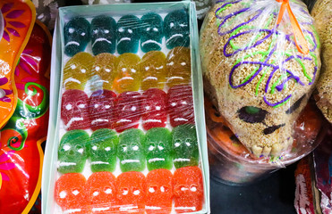 Jelly Skulls for Day of the Dead at Market in Mexico City