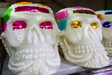 Giant Sugar Skulls for Day of the Dead at Market in Mexico City