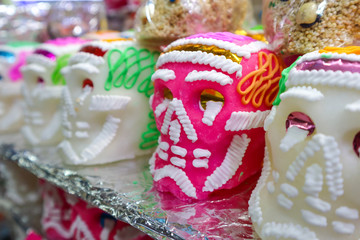 Pink Sugar Skull for Day of the Dead at Market in Mexico City