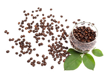 Coffee beans in the glass cup