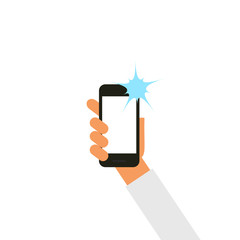 Vector hand holding smartphone.  Taking selfie with flash.