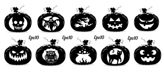 Collection of pumpkins for the holiday of Halloween, silhouette for design on a white background,