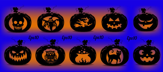 Collection of pumpkins for the holiday of Halloween, silhouette for design on a blue glowing background,