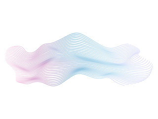 Abstract vector colorful wave lines isolated on white background for design elements in concept of music, technology, modern