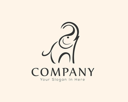 simple elephant logo drawing art