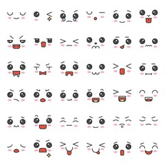 cute emotion face in various expession, editable stroke icon set 3