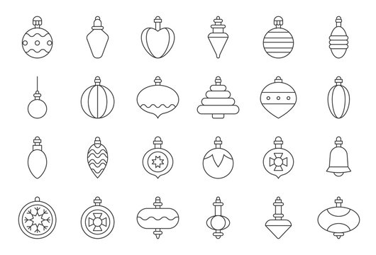 Christmas ball ornaments icon set 2, outline editable stroke