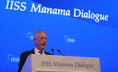 U.S. Defense Secretary James Mattis speaks during the second day of the 14th Manama dialogue, Security Summit in Manama