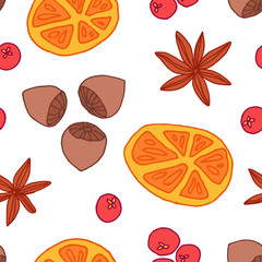 Seamless christmas pattern with oranges, nuts, berries and spice