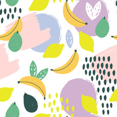 Wall Mural - Colored abstract shapes and fruits. Vector seamless pattern