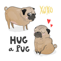 Hug a Pug. Cute puppies. Colored vector illustration