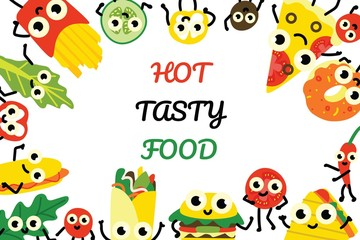 Vector illustration fast food banner with border frame of various full meals and vegetable ingredients cartoon characters with cute smiling faces in flat style isolated on white background.