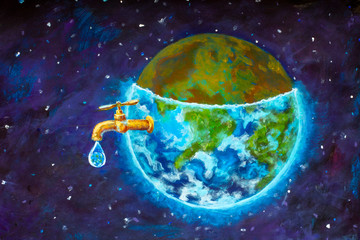 Water crisis, water shortage problem, drought, save water - the concept of original hand painted fine art painting on canvas. Planet earth in space Natural resources illustration artwork for poster