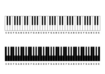 Piano Chords or piano key notes chart on white background vector illustration