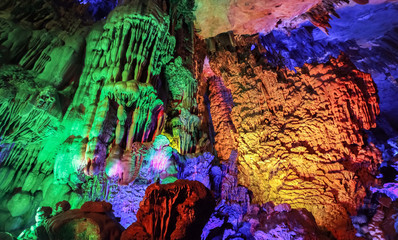 inside the Reed Flute Cave, a beautiful natural limestone cave in Guilin, Guangxi province of China