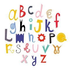 Hand drawn colored vector alphabet. Every letter is isolated