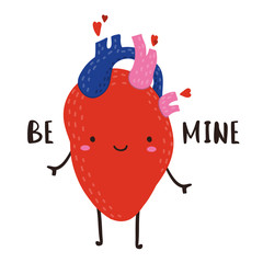 Be mine. Hand drawn cute anatomical heart. Colored vector illustration