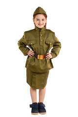 Portrait of pretty girl in USSR military nurse uniform isolated at white background. Concept of russian soldier for 9 May holiday celebration.