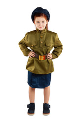 Portrait of pretty girl in USSR military uniform isolated at white background. Concept of russian soldier for 9 May holiday celebration.