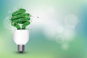 Ecological and Environmental Concept Artwork Illustration Background with Bulb