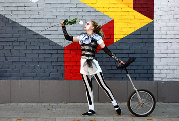 Wall Mural - Girl clown with white rose and a unicycle