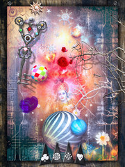 Canvas Prints Imagination Sfondo fantastico con figure in meditazione e chiave magica