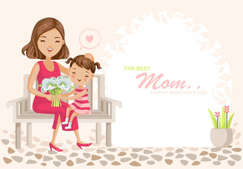 Mother's Day Happy mother's day poster. child daughter congratulates mother and gives a bouquet of flowers. Trendy design Pretty sweet pink lady style. cartoon vector illustration
