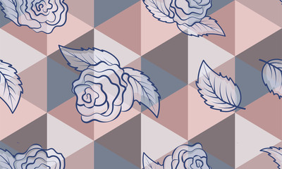 Blue roses on a graphic background