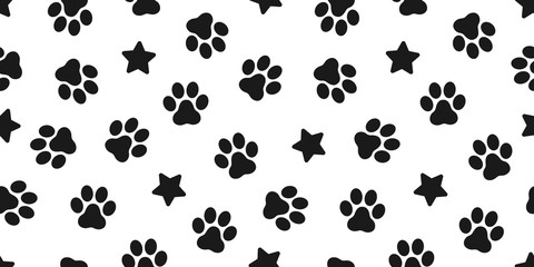 Dog Paw seamless vector footprint pattern kitten puppy star tile background repeat wallpaper illustration cartoon scarf isolated