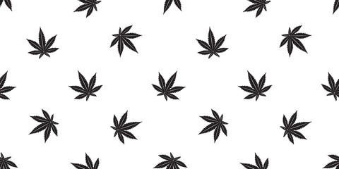 Marijuana seamless pattern Weed vector cannabis leaf scarf isolated tile background repeat wallpaper white