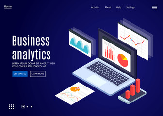 Concept business strategy and planning. Data analysis. Landing page template. Vector 3d isometric illustration.