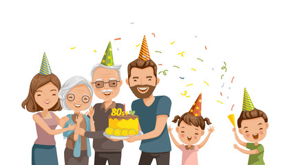 Elderly Birthday Happy family celebrates grandmother's birthday. Be surprised with the cake and the party. Love the relationship of the loving family. Happy time. Cartoon vector illustration