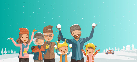 Family of multi generation. Parents,children,grandparents  playing,laughing frost of season.Winter panorama with fresh powder snow. Landscape with snow covered, blue sky with snowflakes are scattering