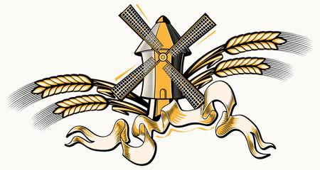 Windmill and wheat decorative emblem