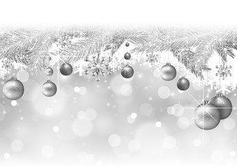 Silver Christmas Background with Silver Snow-covered Branches and Hanging Baubles - Festive Xmas Illustration, Vector