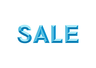 Three dimensional lettering of Sale in blue isolated on white background for advertising, flyer, banner, poster, shop, sale, winter sale, promotion
