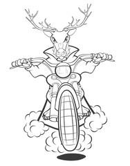 Wall Murals Baby room Biker Elk a Motorcycle Cartoon Illustration. Coloring Book. Outline