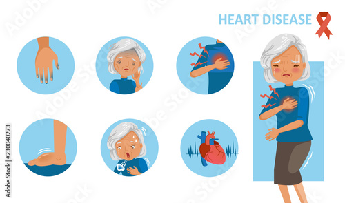 Heart disease and heart attack symptoms  Old woman standing