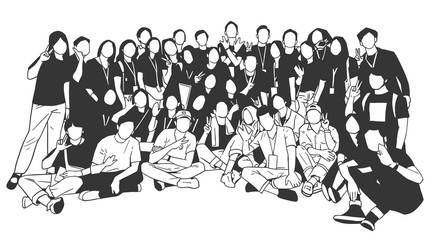 Illustration of young people, friends, classmates, students, colleagues, family posing for group photo