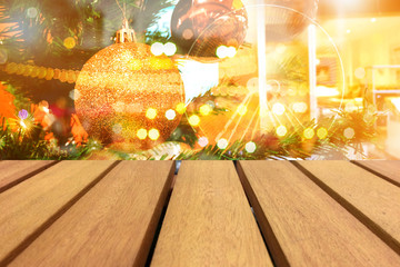 Wooded table and beautiful background montage