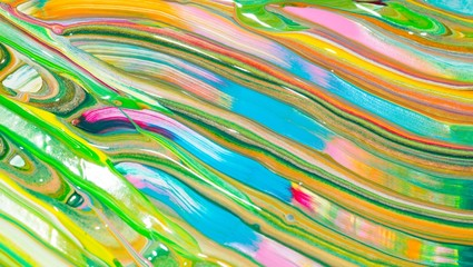 Bunte Malerei/ Gemälde aus Streifen in Rosa, Blau, Weiß, Orange, Schwarz und Grün, Gouache, als Hintergrund