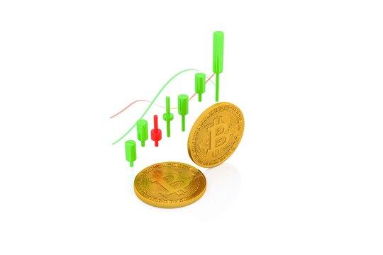Bitcoin Exchange, Bitcoin Trading - 3d render illustrator