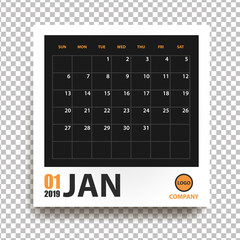 January 2019 calendar in realistic photo frame with shadow isolated on transparent background. Event planner. All size. Vector illustration