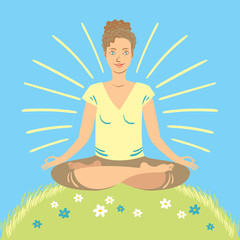 Happy woman meditating