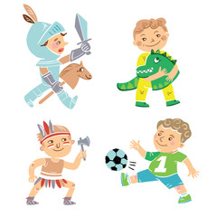 Set of four little boys playing in various costumes.