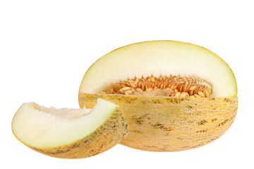 Sliced melon with seeds and piece of melon on white background isolated close up